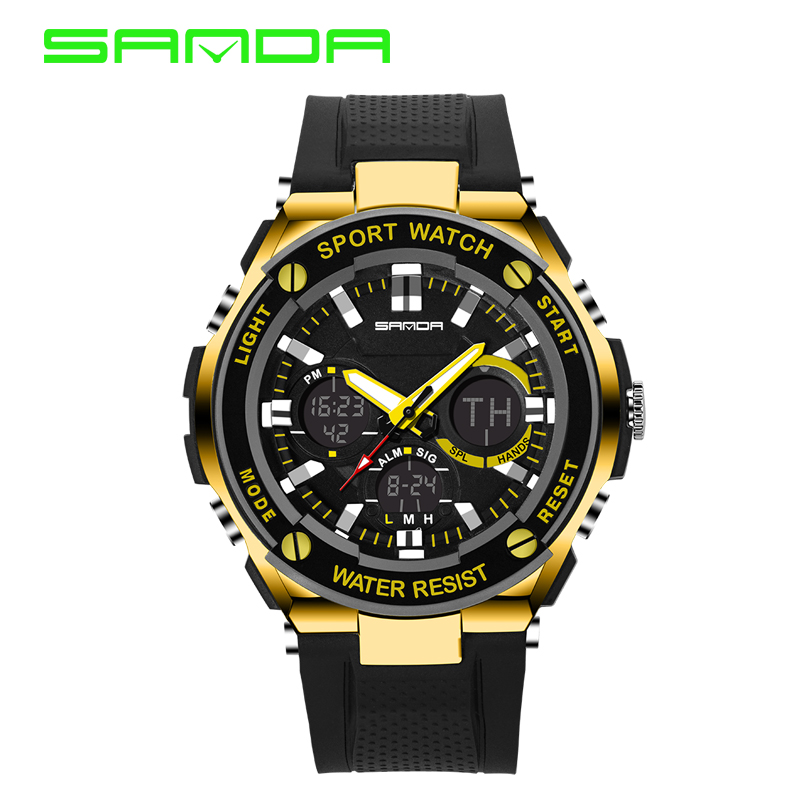2016 New SANDA Luxury Brand Men Military Sports Watches Waterproof LED Date Silicone Digital Watch For