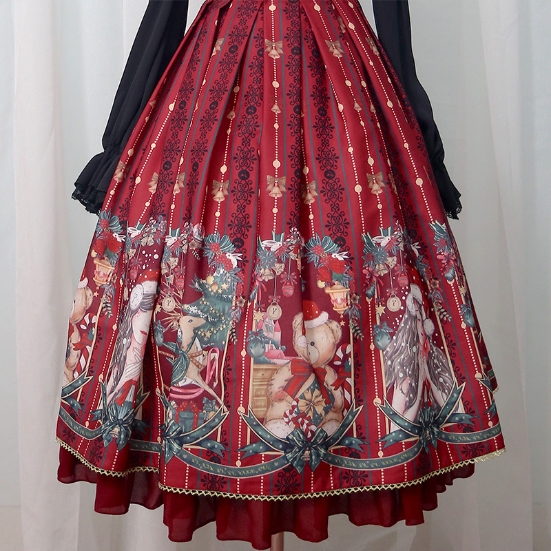 Merry Christmas ~ Royal Vintage Dress Floral Printed Long Lolita JSK Dress