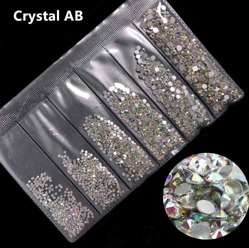 31 цвет, SS3-SS10, разные размеры, Хрустальные стеклянные стразы для дизайна ногтей, для 3D дизайна ногтей, стразы, украшения, драгоценные камни - Цвет: Crystal AB