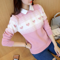 50 fall fashion doll jacquard shirt collar love Beaded false two piece head sweater F1221