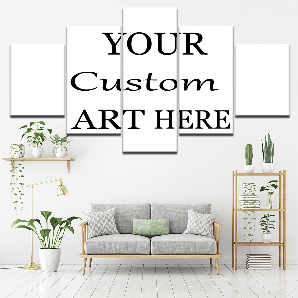 5 Piece Drop Shipping Customized Canvas Painting  Custom Made Wall Art  Wallpapers Modular Poster Print Iving Room Home Decor