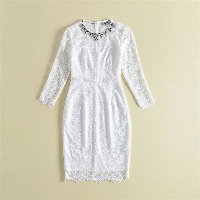 High Quality 2018 Fashion Spring Summer Dress Elegant Pencil Women Long Sleeve Solid White Lace Dress O neck Bead Crystal Neck