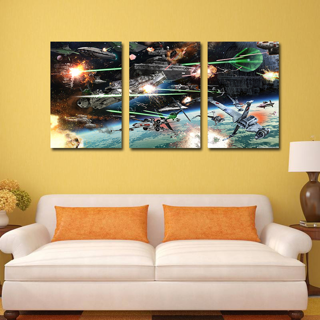 Wall Decor Art Star Spaceship Unframed Wars Oil Painting On Canvas ...