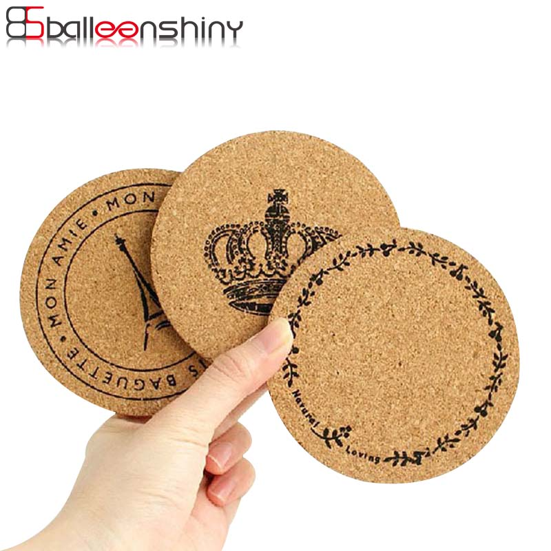 BalleenShiny Round Cork Wood Coasters Table Cup Drink Mat Garland Tower Crown Soft Non-Slip Coffee Dining Pads Kitchen Tools
