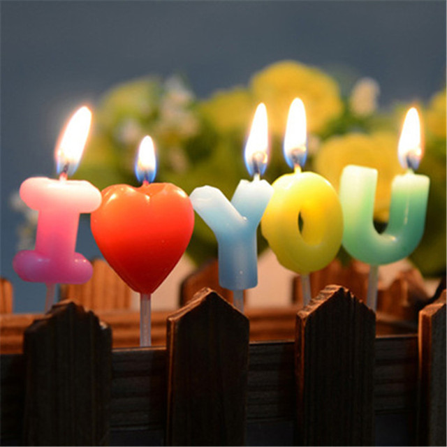 DIY I Love You Letter Happy Birthday Candles Novelty Anniversary Wedding Romantic Toothpick Cake Party Decor