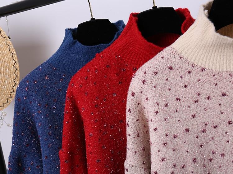 Collare Natale Pullover Stile Nuovo Supporto Coreano A Maglione Del Di Sh Inverno Donne Luminoso Semi In di Lunga Maglia Manica Punte Stelle Alta Delle Cinque lJuT5K1cF3