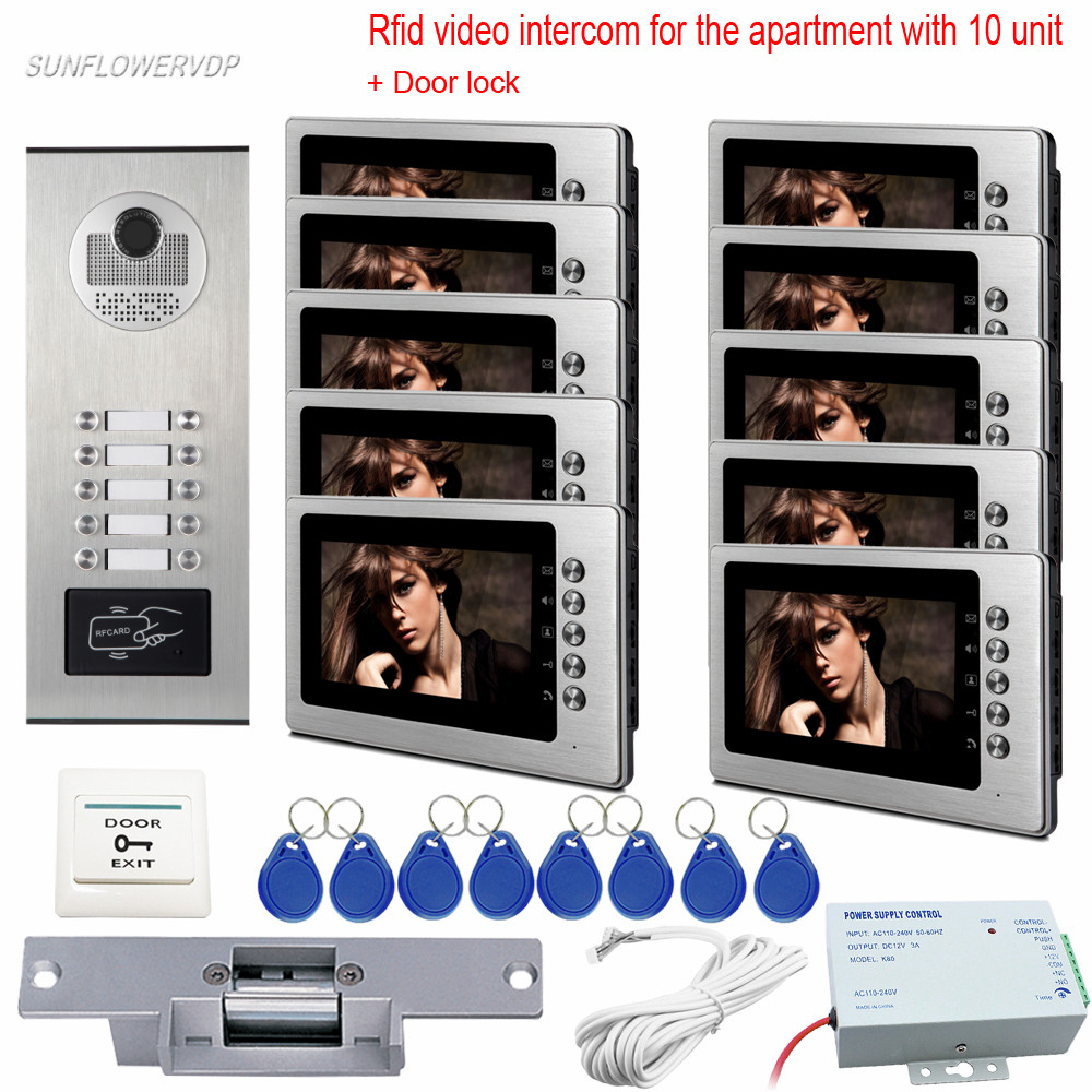 Rfid Wired Video Intercom Doorphone 7 Color Monitors For 10 Apartments Intercom Camera Video Doorbell With Electric Strike Lock 3 monitors 7 video intercom with reording 8gb tf memory cards intercom door rfid camera for 3 apartments electric strike lock