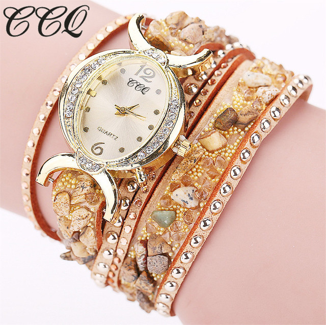 CCQ 2016 New Fashion Rhinestone Quartz Watch Leather Bracelet Watch Relogio Femi