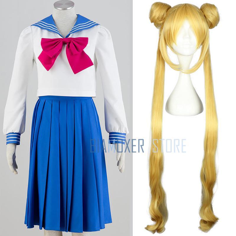 Halloween Sailor Moon Tsukino Usagi Serena Cosplay Wig Costume Uniform Dress