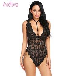 Avidlove 2018 Nova Lingerie Sexy Hot Erotic Body Suit Mulheres Halter Decote Em V Profundo Backless Floral Teddy Roupa de Dormir Produtos Do Sexo Do Corpo