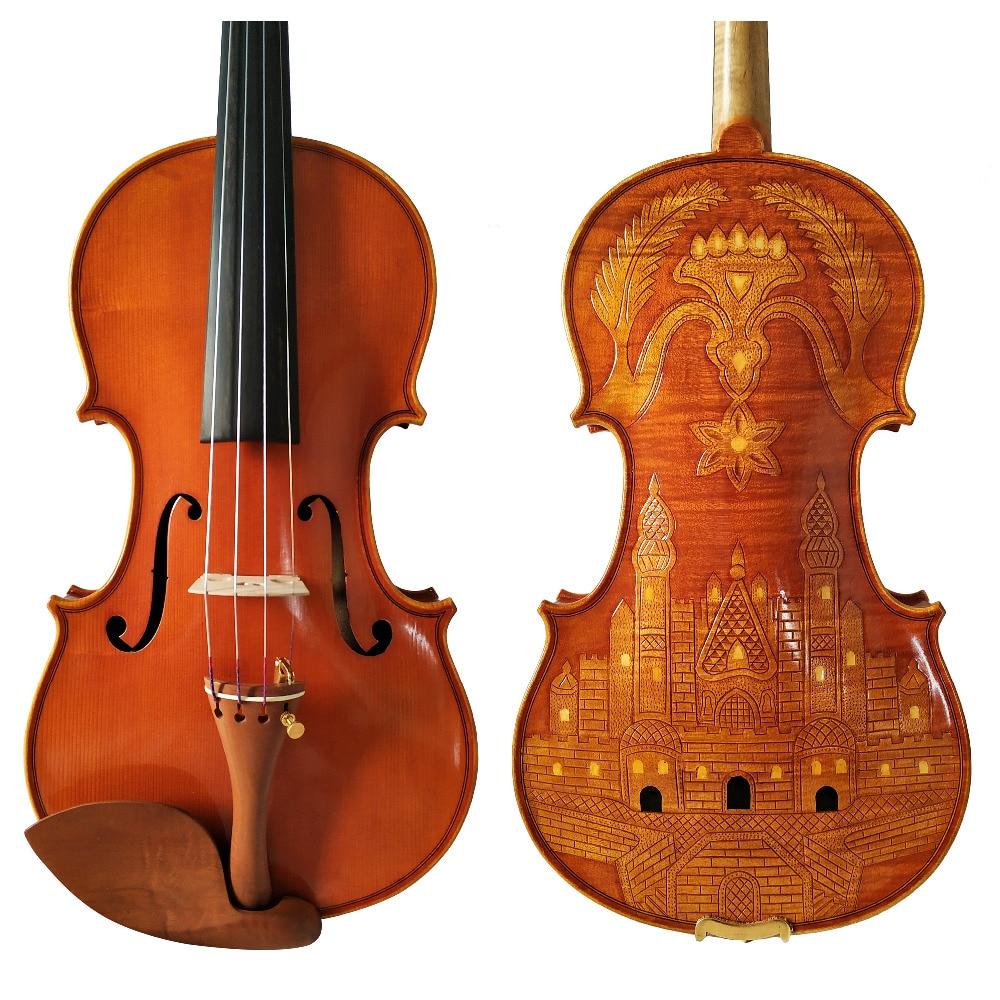 Free Shipping Copy Stradivarius 1715 100% Handmade Carving Flower FPVN03 Violin + Carbon Fiber Bow Foam Case