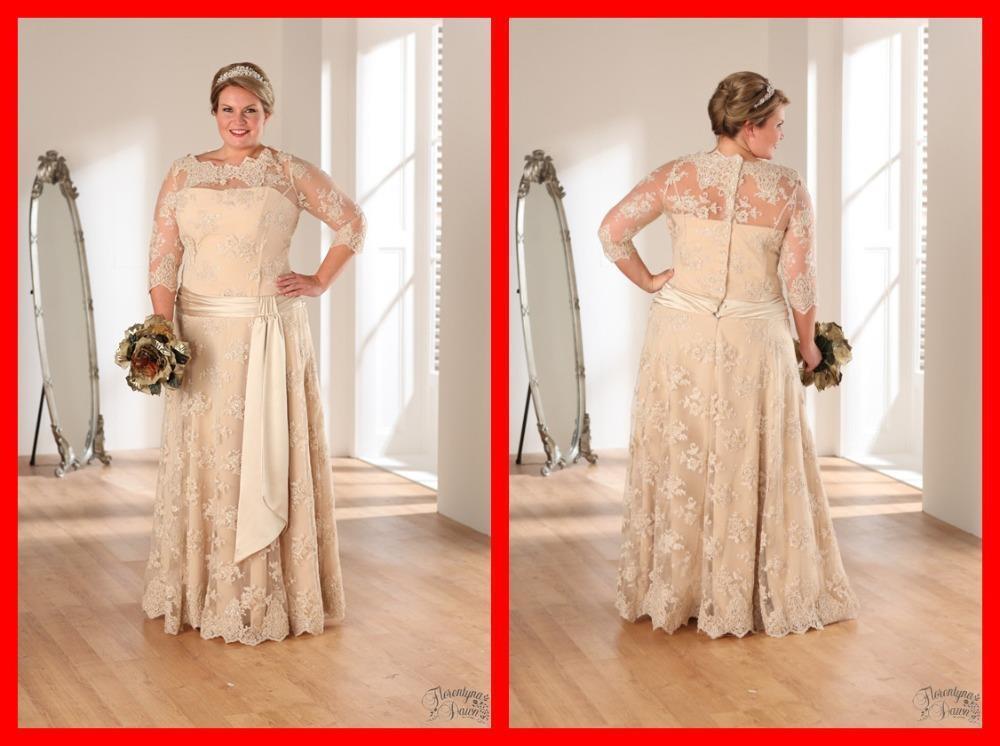 Hot Sale 2016 Sexy Lace Appliques Long Wedding Dress Plus