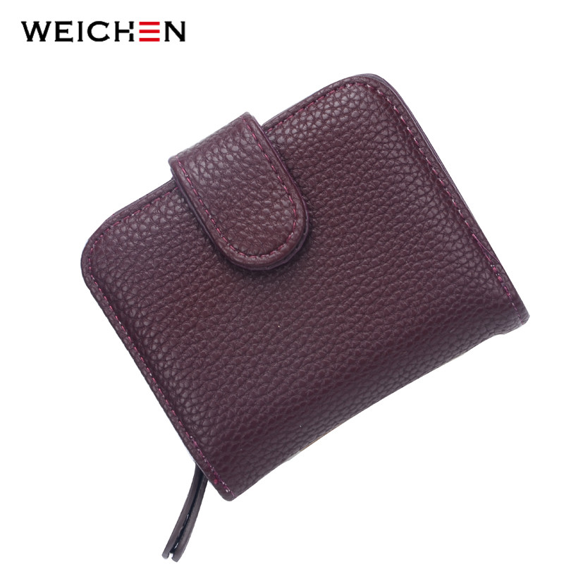Fashion Women Purple Leather Wallet Coin Purse Money Bag Small Wallet and Purse Mini Zipper Hasp Short Lady Purse Card Holder