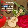 Wooden USB flash guitar-shaped pen drive wooden guitar model usb flash drive memory Stick pendrive 4GB 8G 16GB 32GB 64gb usb2.0