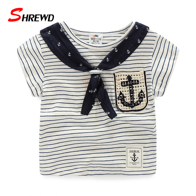 T Shirt Children Boy New 2017 Summer Casual Striped Kids T-shirt Short Sleeve O-neck Simple Boys Clothes 4945W