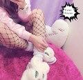 2016 nueva harajuku punk rock sexy hiphop moda estilo kawaii lindo blanco y negro medias de malla grande medias de rejilla a cuadros