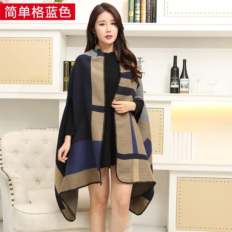 Новинка, роскошный брендовый женский зимний шарф, теплая шаль, женское Клетчатое одеяло, вязанное кашемировое пончо, накидки для женщин, echarpe - Цвет: Simple khaki blue