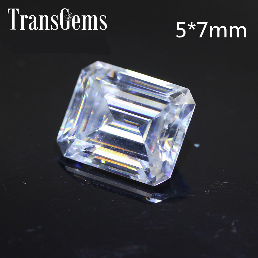 TransGems 1.2 Carat 5mm*7mm F Color Emerald cut Moissanite Diamond Loose Stone Test Positive as Real Diamond transgems 7 5mm 7 5mm 2carat deep blue color cushion cut moissanite bead test positive as real diamond 1 piece