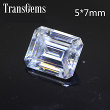 TransGems 1.2 Carat 5mm*7mm F Color Emerald cut Moissanite Diamond Loose Stone as Real