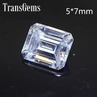 TransGems 1.2 Carat 5mm*7mm F Color Emerald cut Moissanite Diamond Loose Stone as Real Diamond