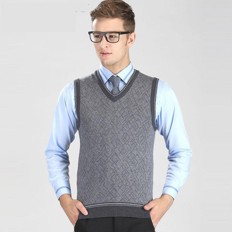 New Arrival Men's Autumn Winter Handsome Casual Knitted V-neck Vest Brand Pure color Warm Elastic Male Wool Sweater Size S-2XL