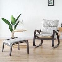 Удобные Relax деревянной взрослых кресло качалка с ног чёрный; коричневый Гостиная мебель современная шезлонг кресло рокер