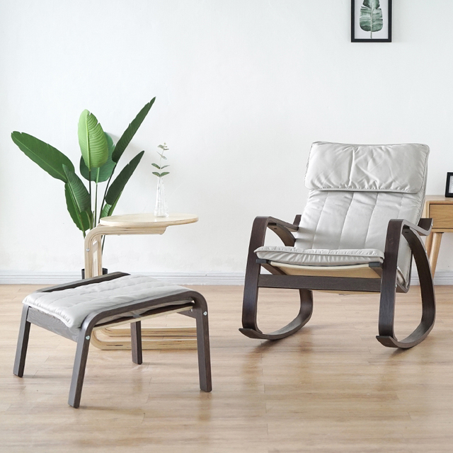 Comfortable Relax Wood Adult Rocking Chair With Footstool Black Brown  Living Room Furniture Modern Chaise Lounge