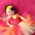 Тропический Торт Ко Дню Рождения Ребенка Девушки Одеваются День Рождения Экипировка Желтый Ярко-розовый Оранжевый Цветок Девочек Балетной Пачки Младенца Платья PT206