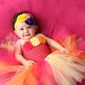 Tropical Birthday Cake Baby Girls  Dress  Birthday Outfit Yellow Hot pink Orange Flower Girls Baby Tutu Dresses  PT206