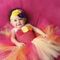 Tropical Torta de Cumpleaños Del Bebé Niñas Vestido de Traje de Cumpleaños Amarillo rosa Naranja Flor Niñas Vestidos Del Tutú Del Bebé PT206