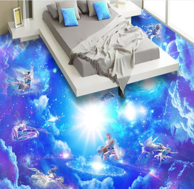 ФОТО 3d floor murals wallpaper living room custom 3d floor The zodiac galaxy 3d flooring self-adhesive wallpaper