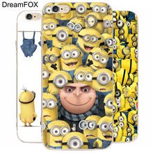 DREAM FOX K124 Minions Transparent Hard Thin Case Cover For Apple iPhone 8 X 7 6 6S Plus 5 5S SE 5C 4 4S