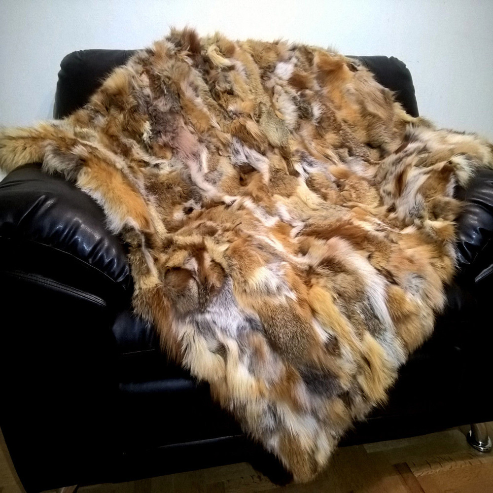 Natural Red Fox Fur Blanket Natural Real Fur Rug Genuine