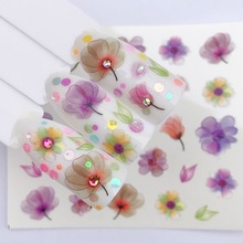FWC 1 Sheet Hot Designs Water Purple Beautiful Flower Sticker Nail Art Sticker Nail Foils for DIY Manicure Decorations 3d nail art fimo soft polymer clay fruit slices cartoon for nail manicure sticker cell phones diy designs wheel decoration czp35