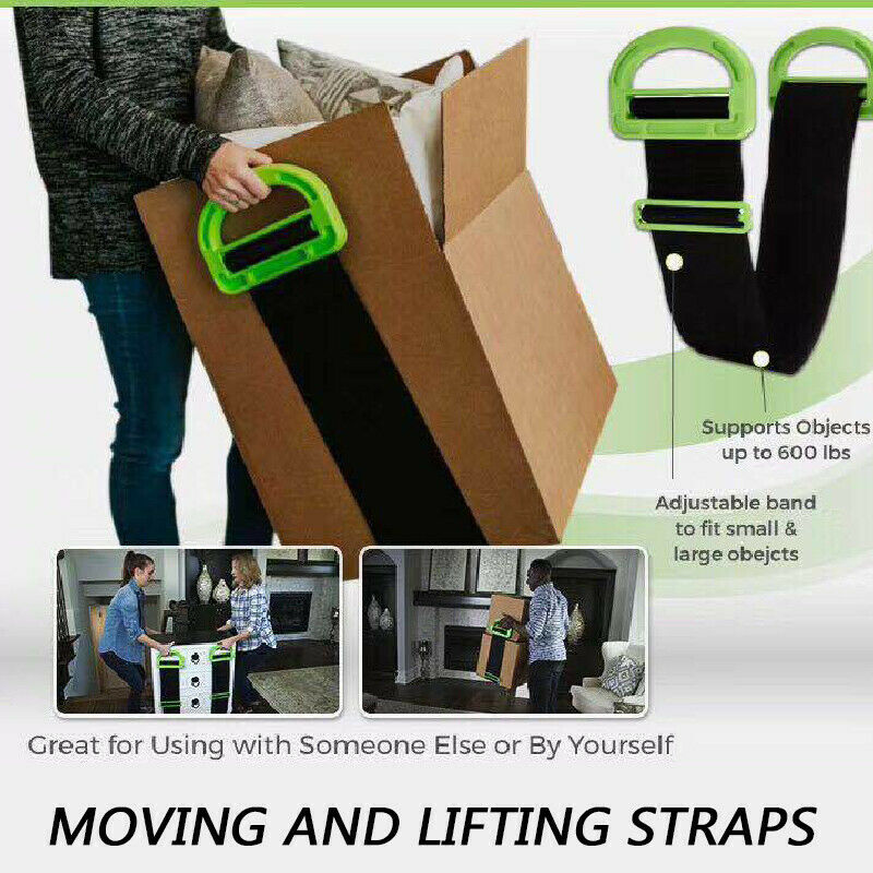 Black Moving Straps Furniture Moving Straps Shoulder Dolly with Adjustable Length for 2 Person to Carry Furniture Appliances Mattresses Easily