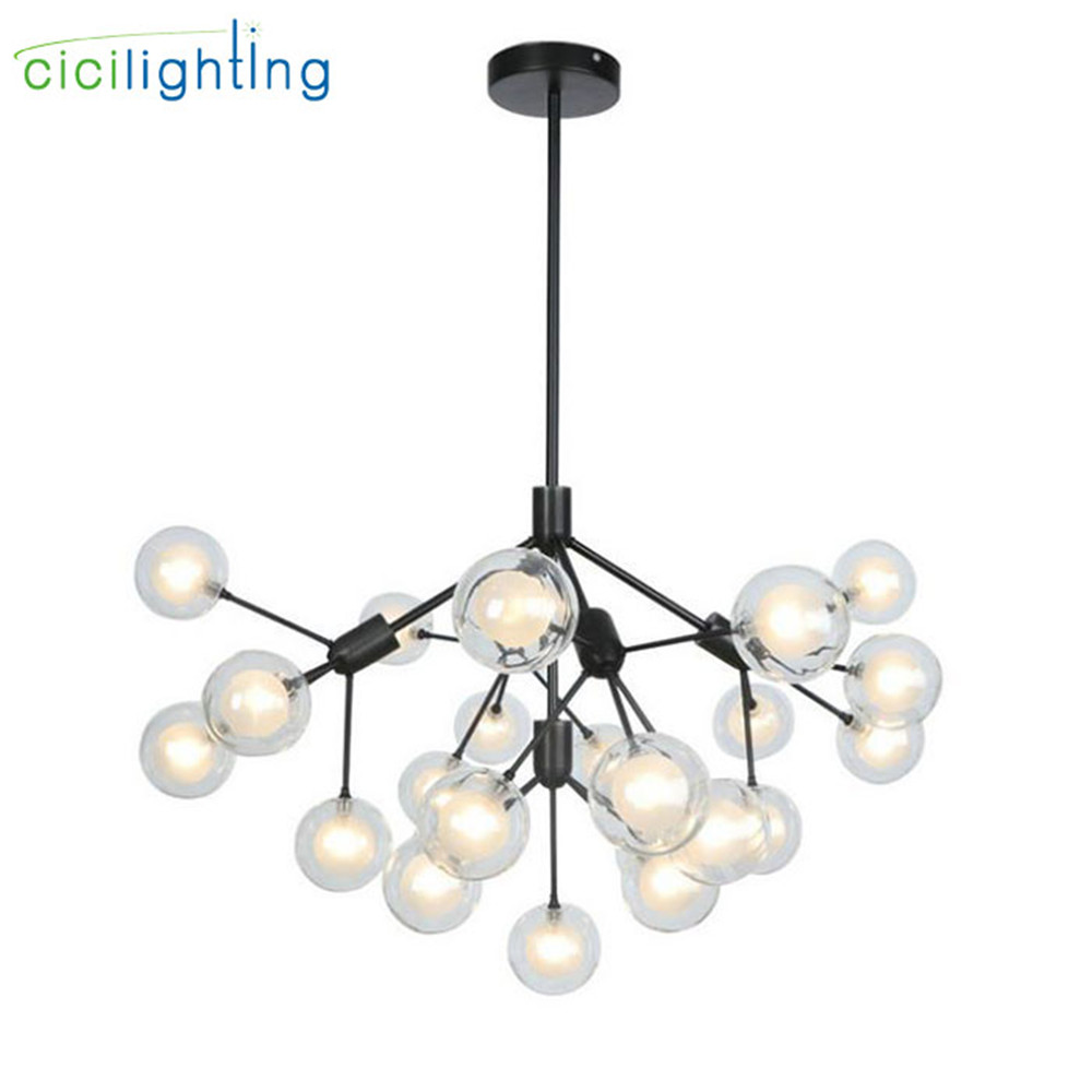 цена Modern 5 light 25 light globe glass lustre chandeliers lighting,industrial black G4 led flush mount hanging lamp for store bar