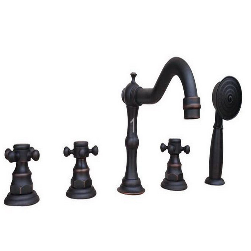 Deck Mounted 5 Holes Bathtub Mixer Faucet Black Oil Rubbed Brass Widespread 3 Handle bathroom basin Faucet Set Handshower atf062 antique brass luxury bathtub faucet bathroom mixer tap brass handshower deck mounted 2 models