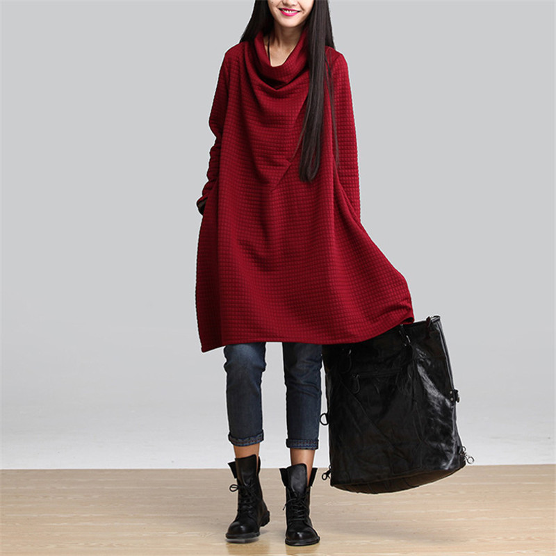 Literary Women Dress Solid Color Women's Clothing Winter Knitted Cotton A-Line Dress Pullovers Loose Dresses Vestidos Tops C1570