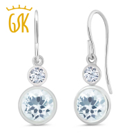 1 72 Ct Sky Blue Aquamarine Gemstone Birthstone 925 Sterling Silver Earrings