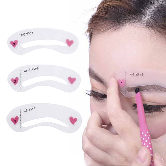 ELECOOL 1Set 3 Styles Reusable Eyebrow Stencil Drawing Guide Card Eyebrow Template Shaping DIY Shaping Grooming Makeup Tool 1