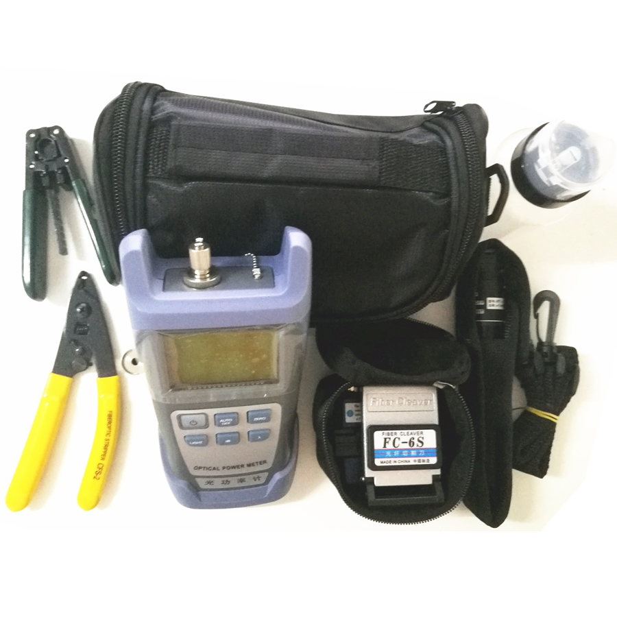 9 In 1 Fiber Optic FTTH Tool Kit with FC 6S Fiber Cleaver and Optical Power