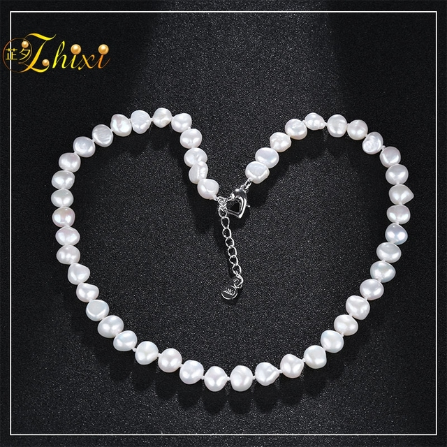 d0a821c38cf [ZHIXI]Baroque Pearl Necklace Fine Pearl Jewelry Woman Trendy Natural White  Choker For Party X1226