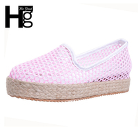 HEE GRAND Women Flats 2017 Simple Cut Outs Mesh Hemp Shoes Woman Sweet Spring Summer Platform