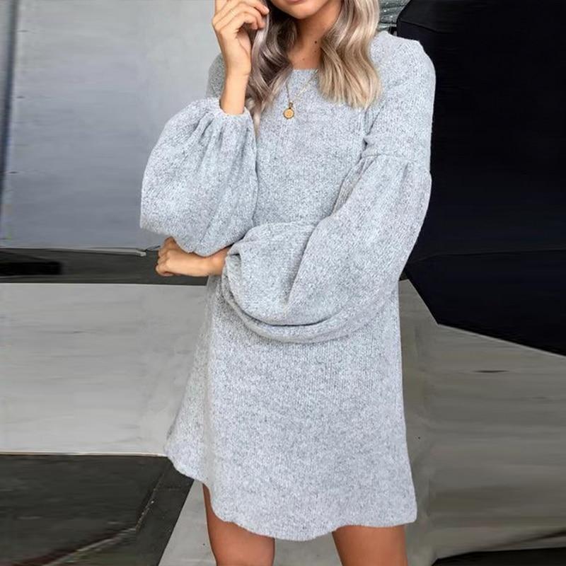 Женское Короткое платье-свитер NIBESSER, повседневное теплое Свободное платье с круглым вырезом и широкими рукавами, зима 2019