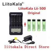 Liitokala carregador lii 500 lcd 3,7 v, 18650 21700 v 3,7 18650 mah inr18650 34b bateria de íons de lítio