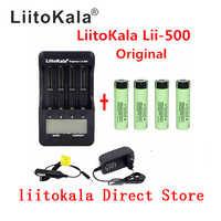 Liitokala lii-500 lcd 3,7 v 18650 21700 carregador + 4 piezas 3,7 v 18650 3400 mah inr18650 34b li-ion bateria