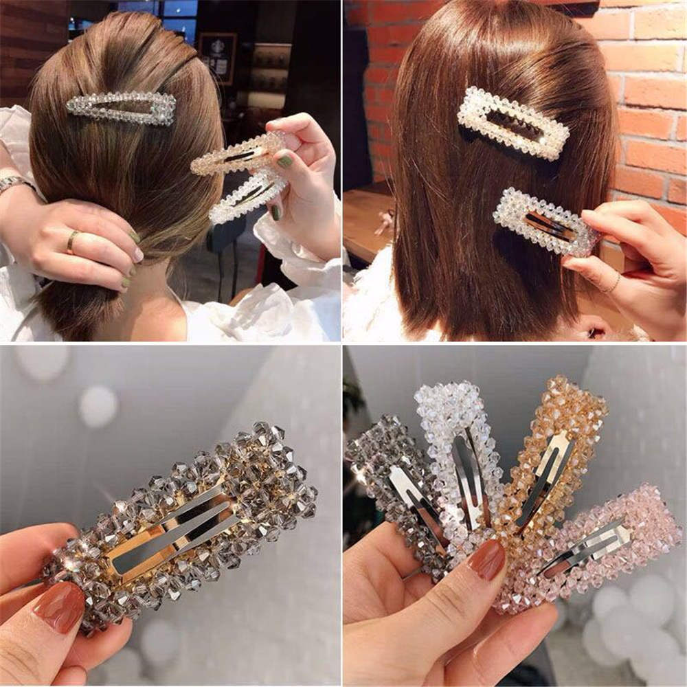 2019 Bling Rectangle Crystal Pearl Hair Clip Snap Barrette Stick Hairpin Hair Styling Accessories For Women