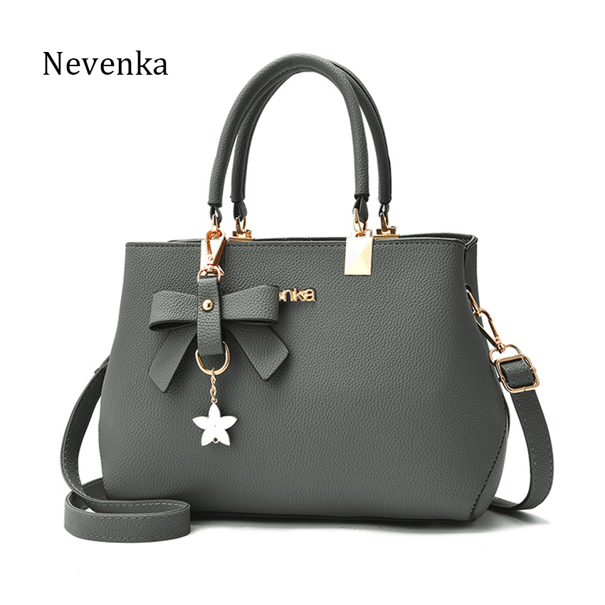NEVENKA Women Casual Handbag Female Simple Style Bowknot Design Zipper Shoulder Bag Lady Fashion Shopping Tote Message Bag sweet women s tote bag with metallic and bowknot design