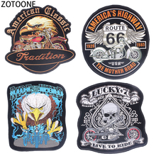 ZOTOONE Stylish Punk Skull Patch Iron on Large Back Patches Sewing on Clothing Eagle Bike Embroidery  Patches for Clothes Badges цена