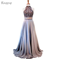 Long Prom Dresses 2018 Real Sample High Neck Sleeveless A line Beaded Chiffon Backless African 2 Piece Prom Dress